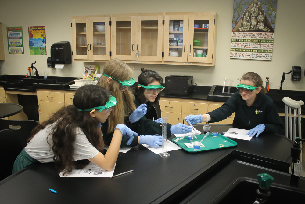 Catholic school students in science lab